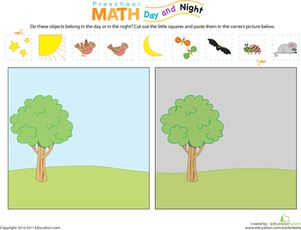 Worksheet for teaching day and night (categorizing).  Can use for file folder game.