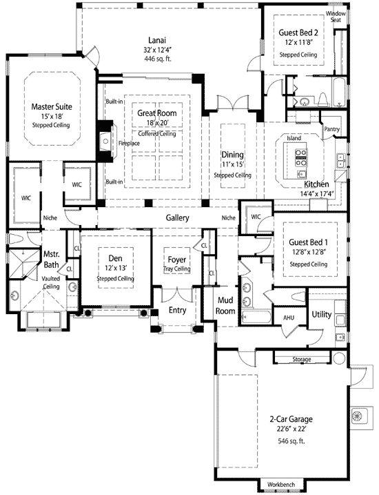 great room floor plans single story