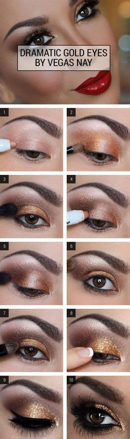 Dramatic Gold Eye Makeup Tutorial | Gorgeous & Easy Eye Makeup Tutorials For Brown Eyes | Eye Shadow Tutorials at http://makeuptutorials.com/gorgeous-easy-eye-makeup-tutorials-brown-eyes-eye-shadow-tutorials/