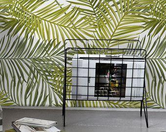 Fondo de pantalla de hoja de Palma    Hojas de Palma verde    Fondo de pantalla extraíble de follaje de Palma    Pared temporal mural #30