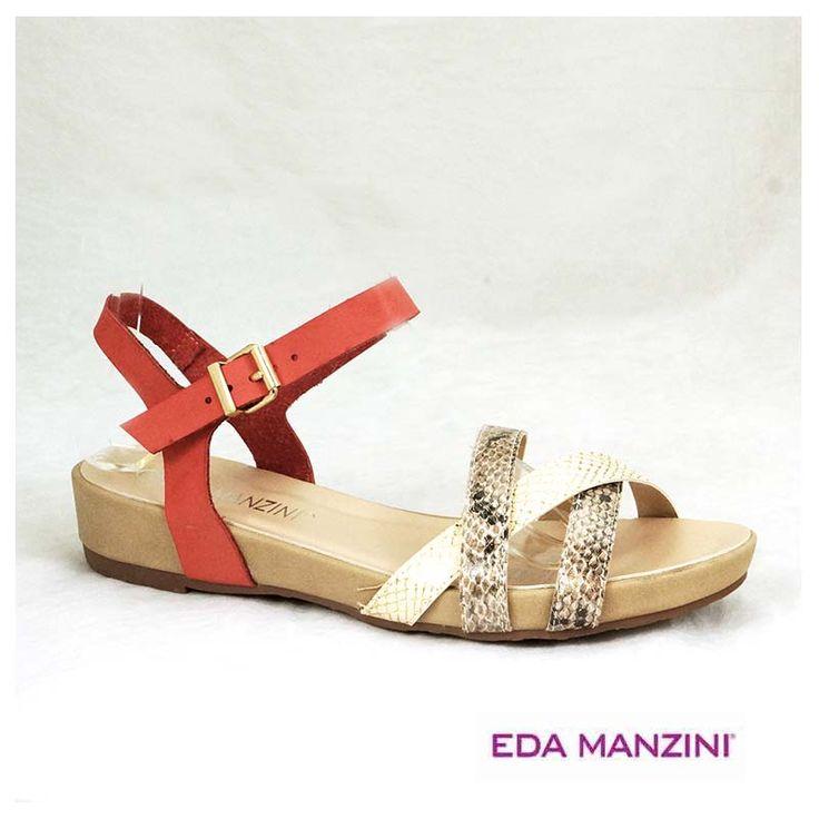 Sandalia color sandia y correas print