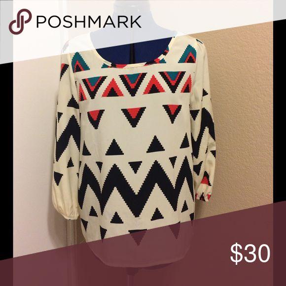 BOUTIQUE Aztec blouse worn once! BOUTIQUE Aztec blouse worn once! peach love cream Tops Blouses