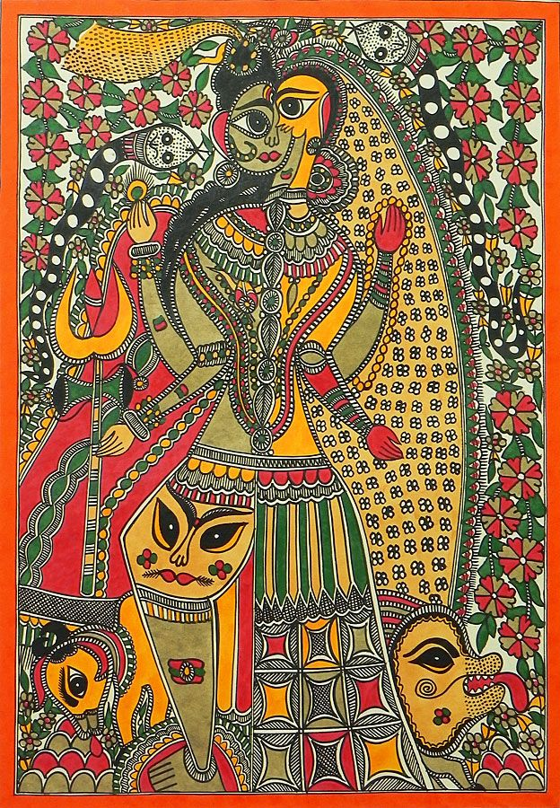 Ardhanarishavara (Madhubani Folk Art on Paper - Unframed))