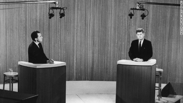 The first televised presidential debate was on September 26, 1960, and it involved U.S. Vice President Richard Nixon, left, and Sen. John F. Kennedy of Massachusetts.