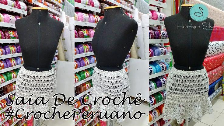 Saia De Crochê Com Babado Godê - Henrique Silva TV   - ponto peruano