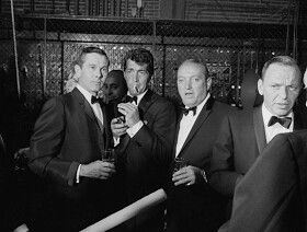 Johnny Carson, Dean Martin, Jilly Rizzo & Frank Sinatra backstage June 20, 1965 for the Teamster's Benefit for Dismas House, Kiel Opera House, St. Louis, Missouri.
