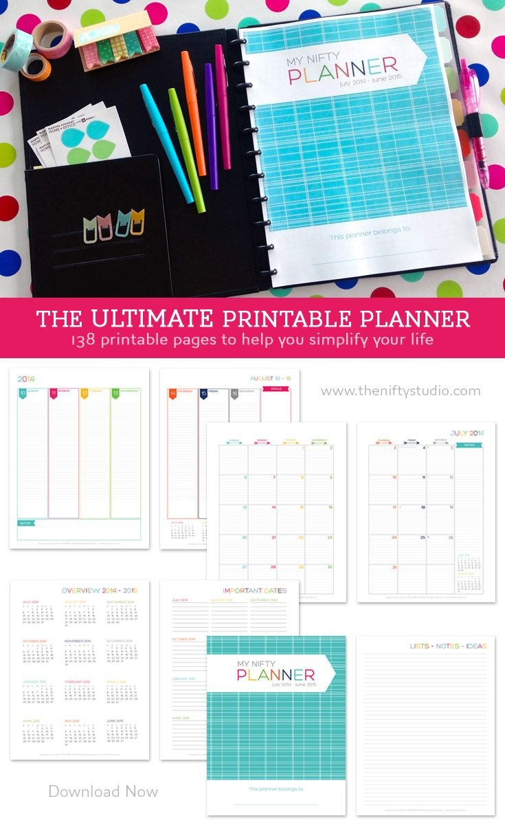 Looking for calendars that work? The Nifty Planner is a printable planner that will help you get organized and simplify your life. Keep track of your daily appointments and events. Plan out your month on one page. Keep track of birthdays. Make to-do lists. Set goals and stick to them. There's even a place to write down your meals each day.. or use that space to write when bills are due.. or maybe when homework is due. This planner is very versatile! Instantly download it now.