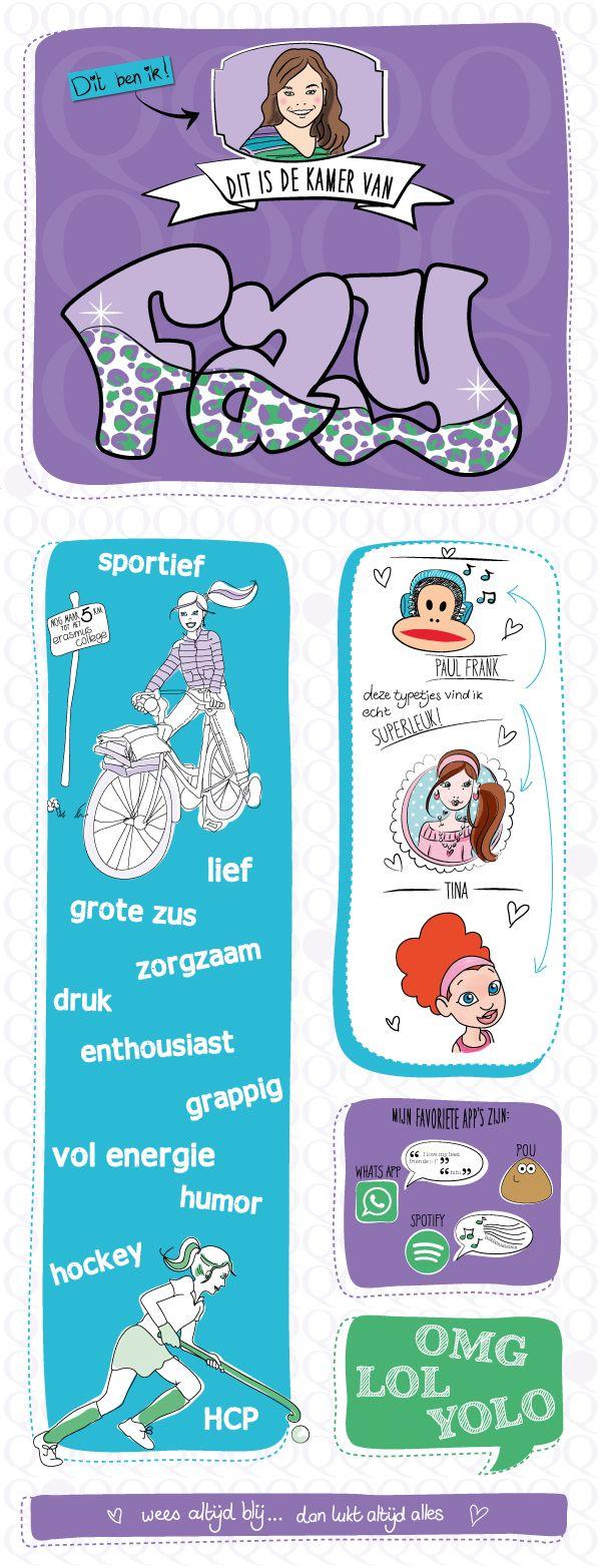 Gepersonaliseerde poster voor tienerkamer, infographic