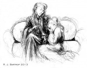 "Amel in his ""Soul of Light"" regalia, comforting distraught Princess Dela, from web serialization of novella Mekan'stan. Art by Richard Bartrop."