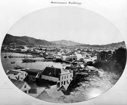 Wellington in 1866, the year after it became the capital (pic: Alexander Turnbull Library, Alexander Fisher Album)