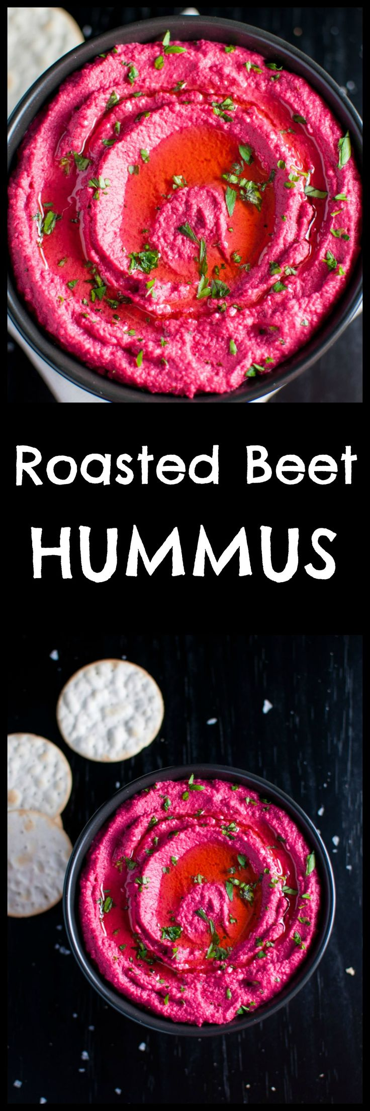 Add some color to your life with this roasted beet hummus – a bright pink dip that's a real crowd pleaser. Pin for later :)