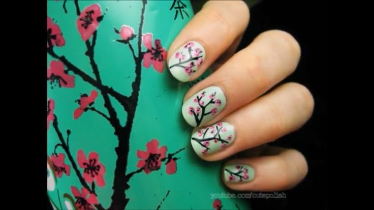 Arizona Green Tea Cherry Blossom nails: Trees Nails, Cherries Blossoms Nails, Arizona Green Teas, Nails Art, Nails Design, Arizona Teas, Flowers Nails, Ice Teas, Nails Tutorials