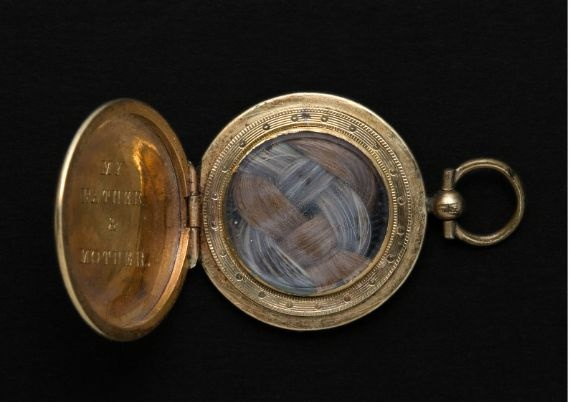 Emily Dickinson's locket with the braided hair of her parents.