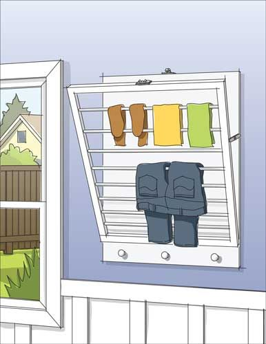 DIY wall-mounted drying rack that lays almost flush with the wall when folded away—perfect for the bathroom, laundry room or kitchen!