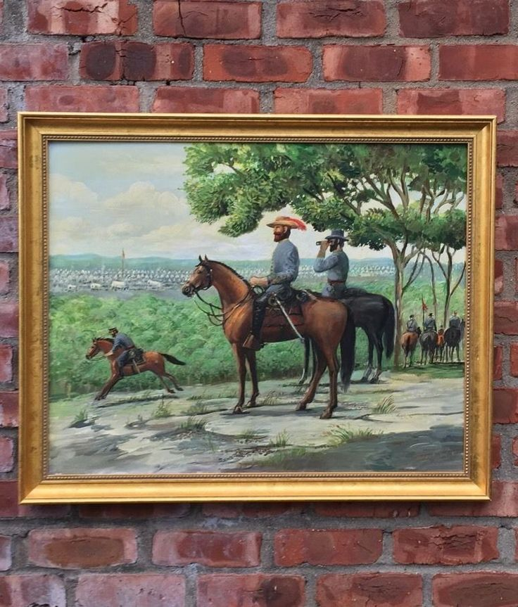 Civil War Virginia Confederate Calvary Painting by Sidney E King Signed 1997 | eBay