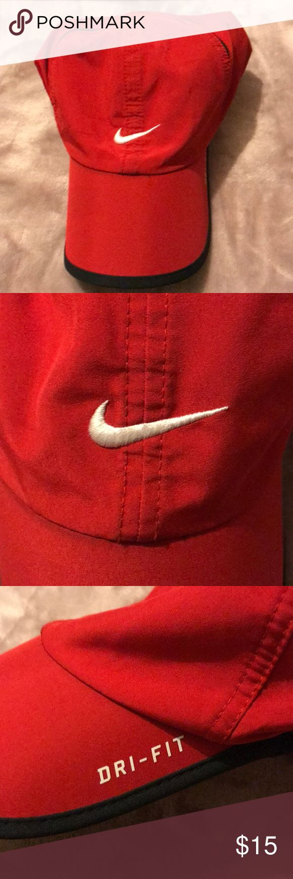 Nike Dri-Fit Hat -red nike hat with black trimming  -dri-fit - 2 stains (shown in photo): would probably come out if washed Nike Accessories Hats