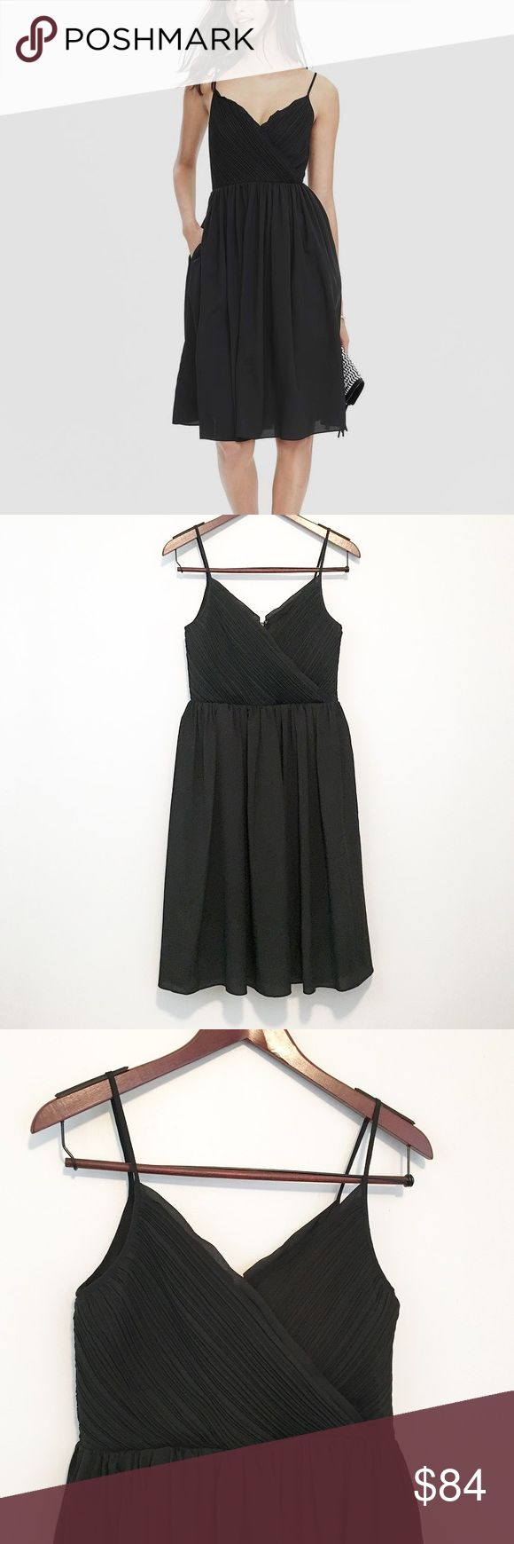 Banana Republic Strappy Vee Semi-Formal Sundress How gorgeous is this?! I really want to alter it down to my size, but I know I shouldn't. It's perfect for all kinds of occasions - the definition of a little black dress! The bust is kind of ruched or ruffled, and it's just all over stunning. But y'all, it's got pockets!!! 😍 Banana Republic Dresses Midi