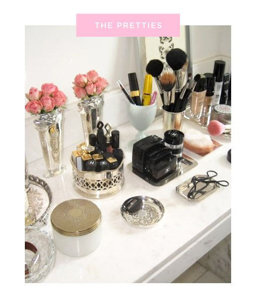 Tray Chic - DIY Vanity Ideas |  Use trays, large or small, to hold loose items that make even an eyelash curler look intentionally placed.