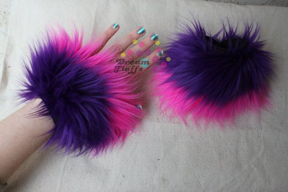 Cheshire cat costume? **Now available:: You can choose to either have the cuffs made with pink on top or purple on top!!**    New! Choose your wrist size! Just use a tape