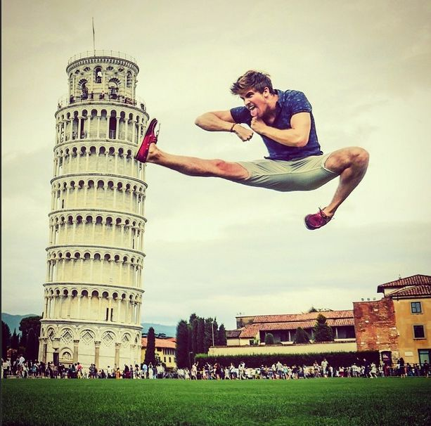 Joey Graceffa is now trying to knock down the leaning tower of piza! Not gonna happen Jose! <3