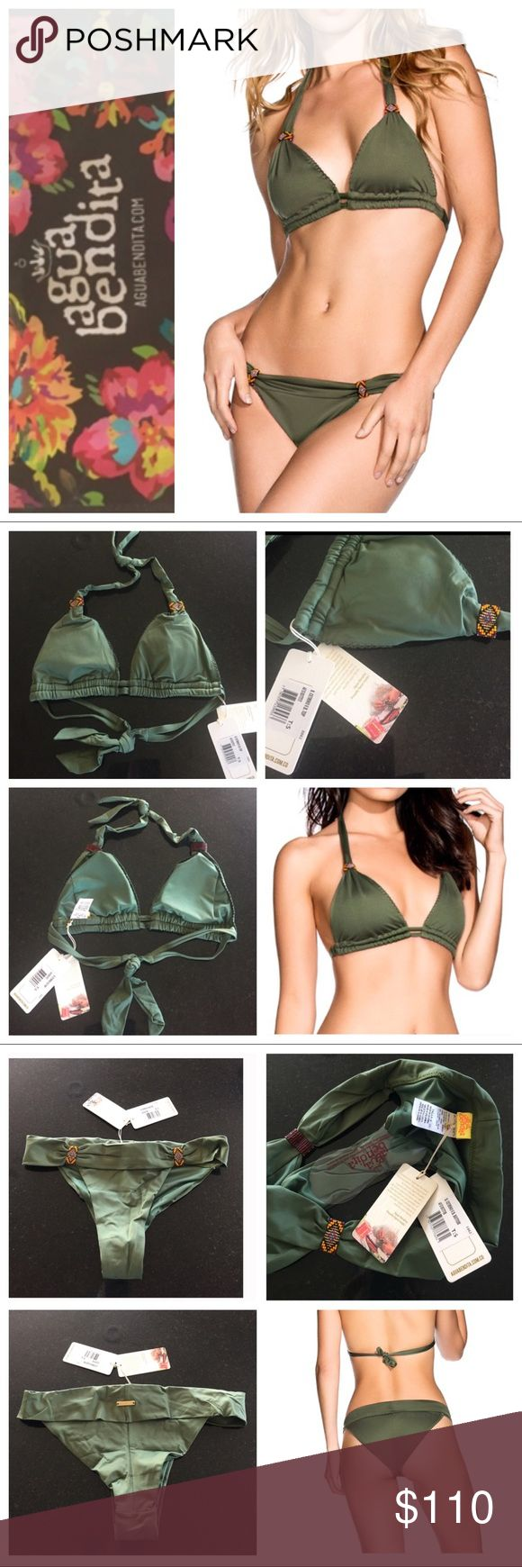 Agua Bendita 2 piece bikini set Agua Bendita cetrino beaded detail olive green 2 piece bikini set, size small.  Beautifully hand crafted in Columbia!  Includes the triangle style top with removable pads and the Latin cut bottoms.  NWT and hygiene liner intact.  Model pics from Pinterest to show fit. Agua Bendita Swim Bikinis