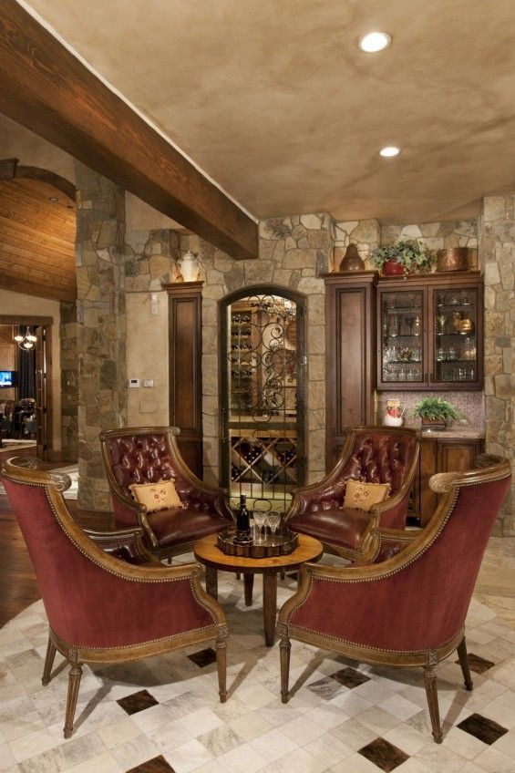 wine room furniture ideas | Rustic Wine Cellar By Design One Interiors With Classic Furniture ...