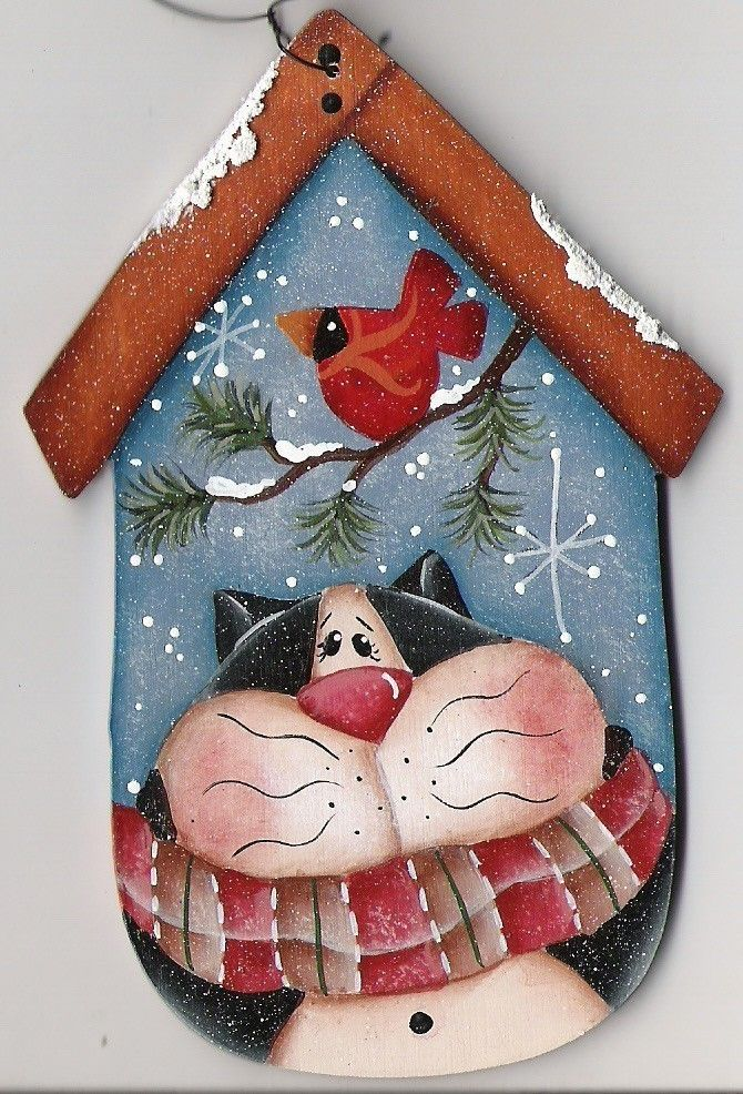 Kitty Birdhouse ornament....definitely looks like one of Renee Mullins designs