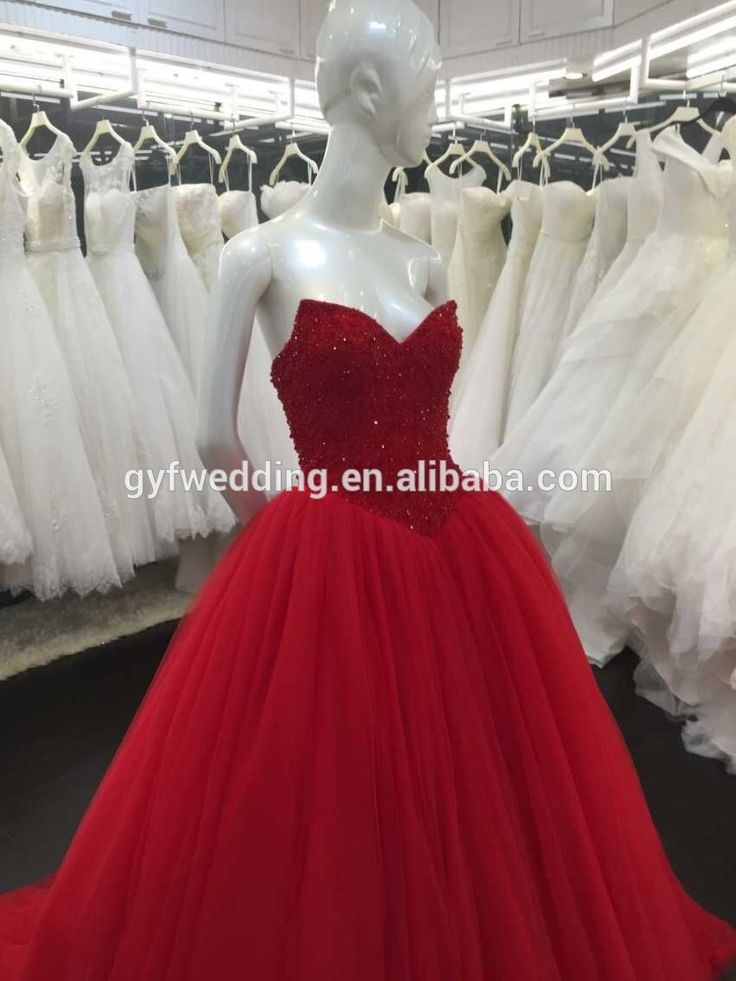 Red evening dress ball gown V-neck full beading lace up back evening dress pz111-1