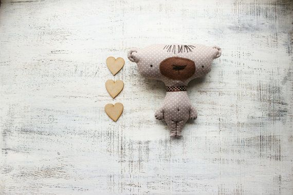 Baby soft toy primitive safe stuffed bear 7' baby shower gift nursery decor grey white hearts