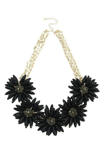 An Oasis favourite. A statement necklace with a multi-row chain and 5 flowers created by black facet beads #Halloween