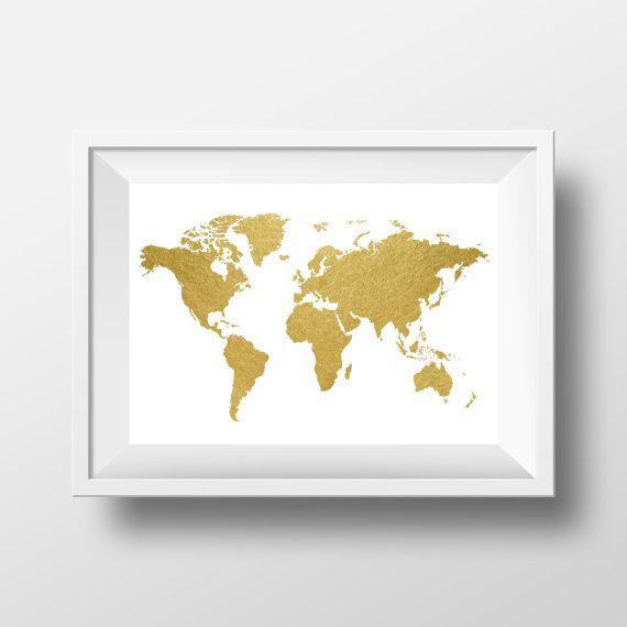 World Map Print Gold Print World Map Wall Art by printshopstudio