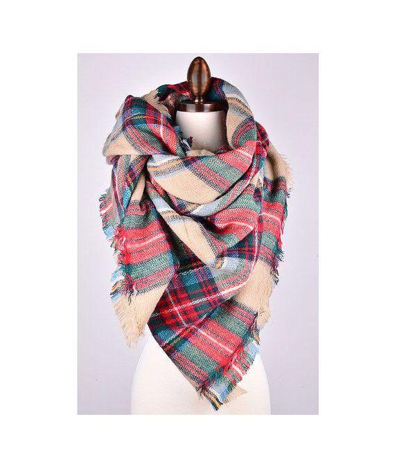 Blanket Scarf, Plaid blanket scarf, oversized plaid scarf, tartan Scarf, Zara style plaid scarf by www.bootcuffsandsocks.com