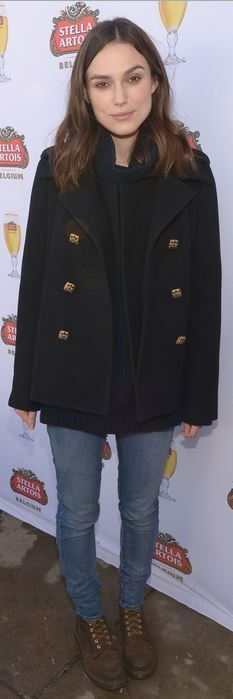 Who made Keira Knightley's black coat and brown lace up boots? Coat – Chanel  Shoes – Dr. Martens