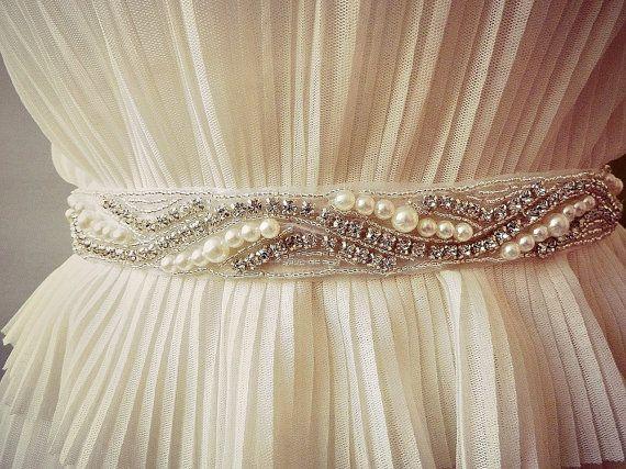 BRIDAL PEARLS SASH  Wedding Sash Bridal Rhinestone by AdeleInWhite, $65.00