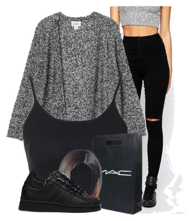 """""""Untitled #2783"""" by alisha-caprise ❤ liked on Polyvore featuring Missguided, Monki, Topshop, CO and adidas"""