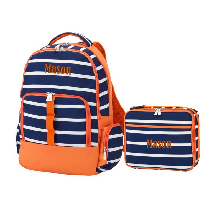 Personalized Matching Boys Backpack & Lunch Bag Striped Navy Orange