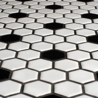 Somertile 10 25x11 75 Inch Victorian Hex White With Black