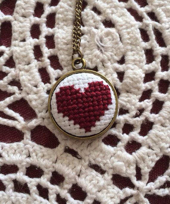 Burgundy heart cross stitch necklace by ashleighpurcel on Etsy, $15.00
