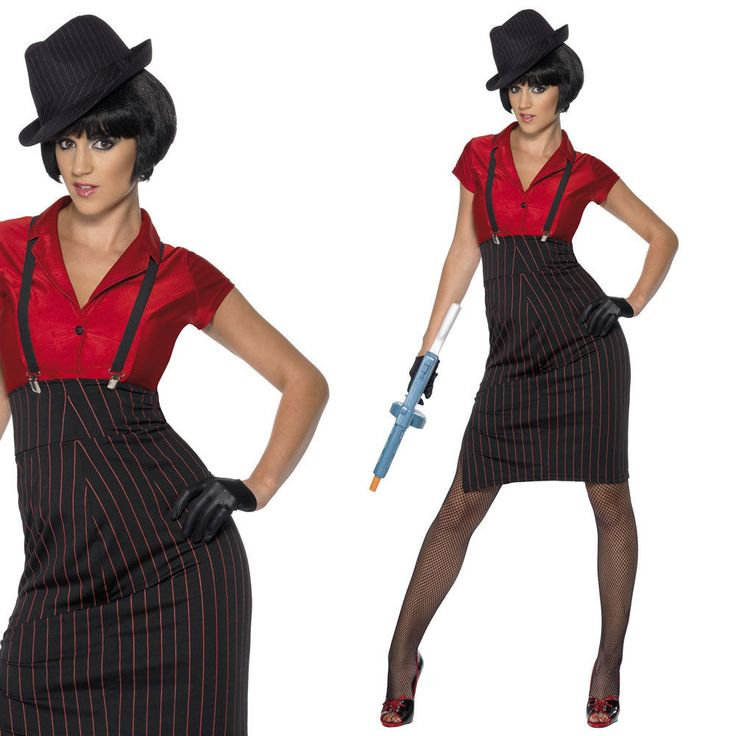 Ladies 20s Gangster Fancy Dress Costume 1920s Twenties Gangster Dress Outfit