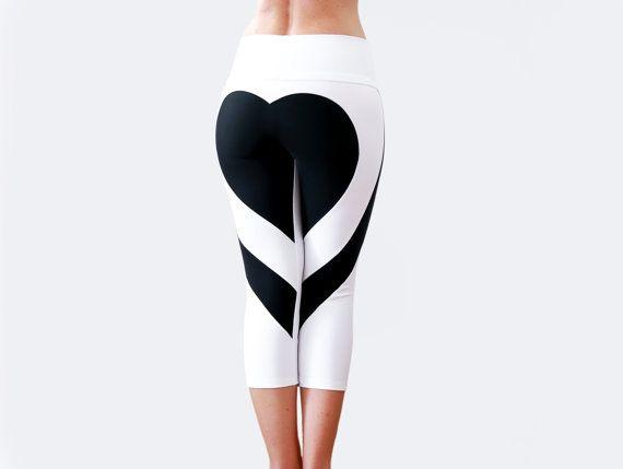 Heart Shape Pants, Sexy Leggings, White Yoga Pants, Heart Booty Pants, White Workout Wear, Gym Tights, Capri Leggings, Designer Leggings