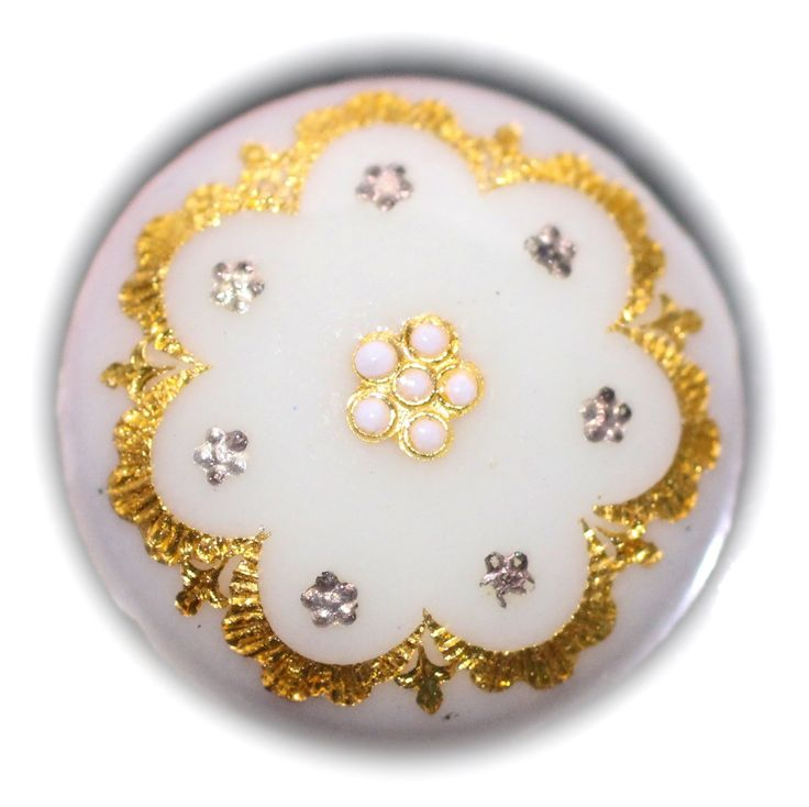 Button / Enamel / Gold & Silver Foil / Small by KPHoppe on Etsy
