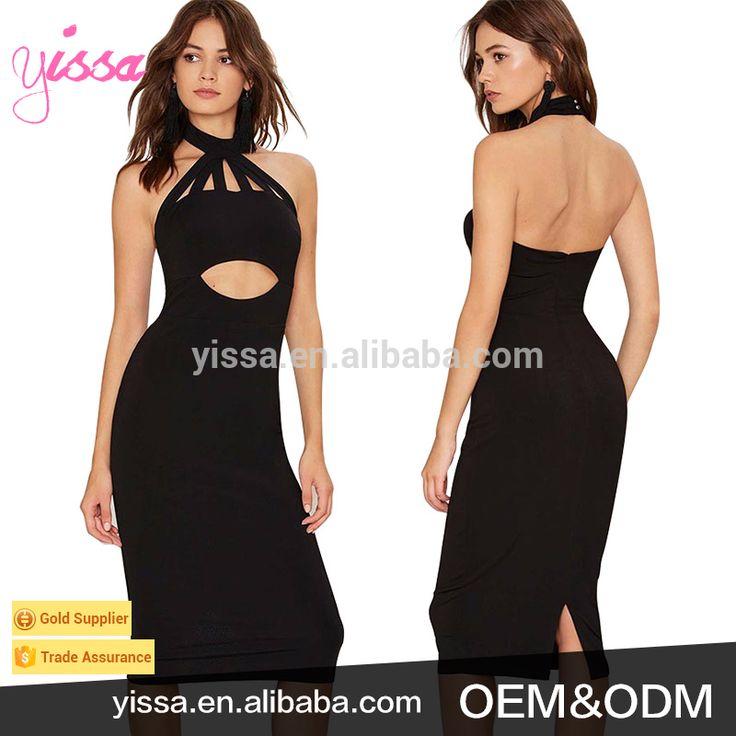 Yissa 2017 Women Halter Dress Model Sleeveless Black Bodycon Sexy Prom Dress for Girls