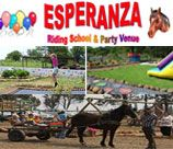 Esperanza Riding Club & Party Venue - Pretoria East provides a fantastic party venue with a farm atmosphere. A big lapa with a seperate section provides a comfortable area for adults while kids amuse themselves with our many extra facilities i.e. Jungle Gyms, Trampoline, horse drawn carriage, bike track, quad bikes etc etc.