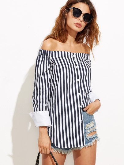 Blouse à rayure verticale épaules nues - blanc et bleu marine -French SheIn(Sheinside)Site Mobile