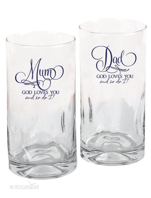 Buy Set of 2 Glass Tumblers: Mum & Dad, God Loves You And So Do I Online - Set of 2 Glass Tumblers: Mum & Dad, God Loves You And So Do I Homeware: ID 780308054492