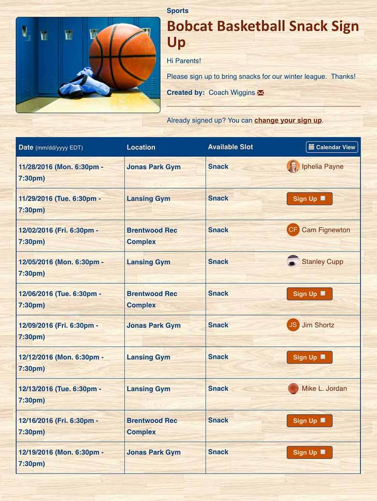Online sign up sheets and forms for sports team scheduling