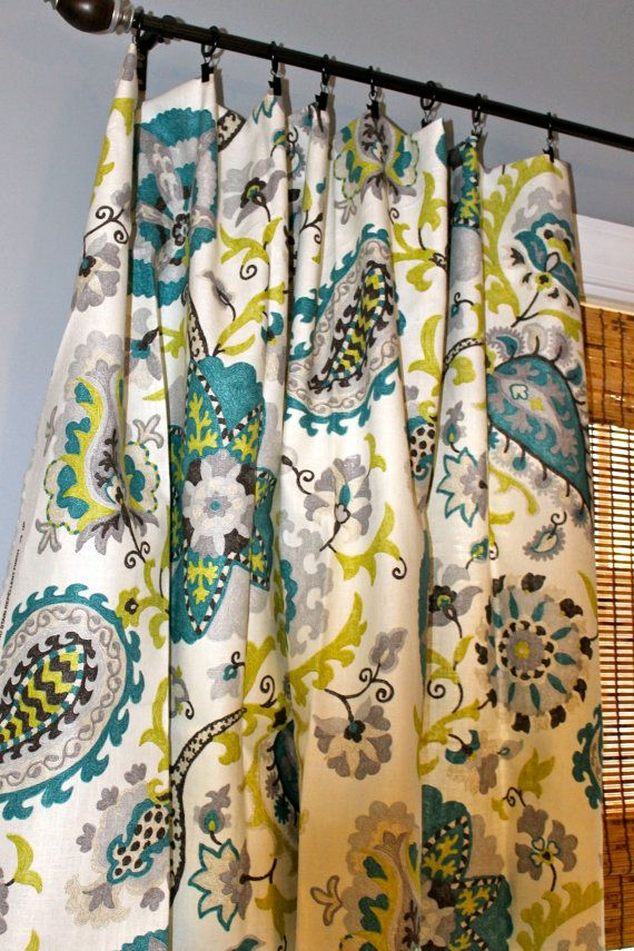 Peacock Blue, Chartreuse, Brown And Ivory Floral Curtain Panels / Custom  Drapery In Ladbroke