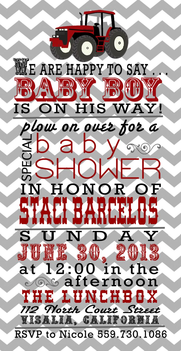 Baby Boy Baby Shower Invitation 4 x 8 Digital File, Tractor, Red, Grey, Chevron, Baby, Invitation by LoudandClair on Etsy https://www.etsy.com/listing/230914673/baby-boy-baby-shower-invitation-4-x-8