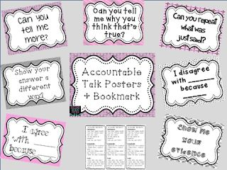 Accountable Talk posters and bookmark Freebie
