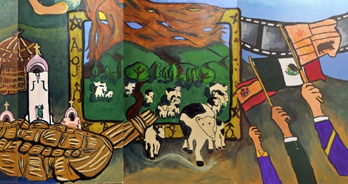 A historical mural by middle school kids in San Rafael--this section shows the Spanish, Mexican and early American period in California